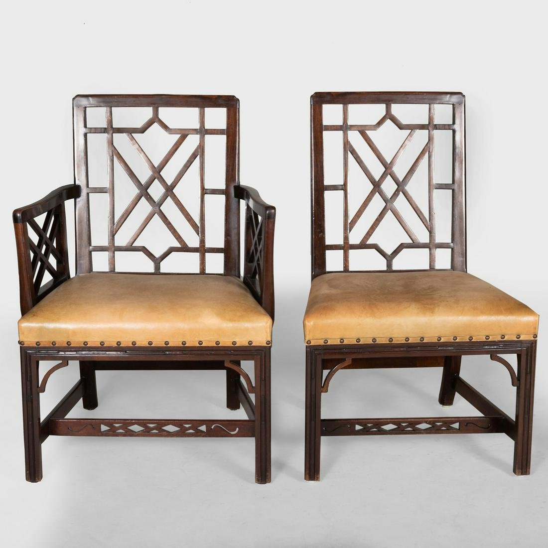 Set of Eight George III Style Mahogany and Leather