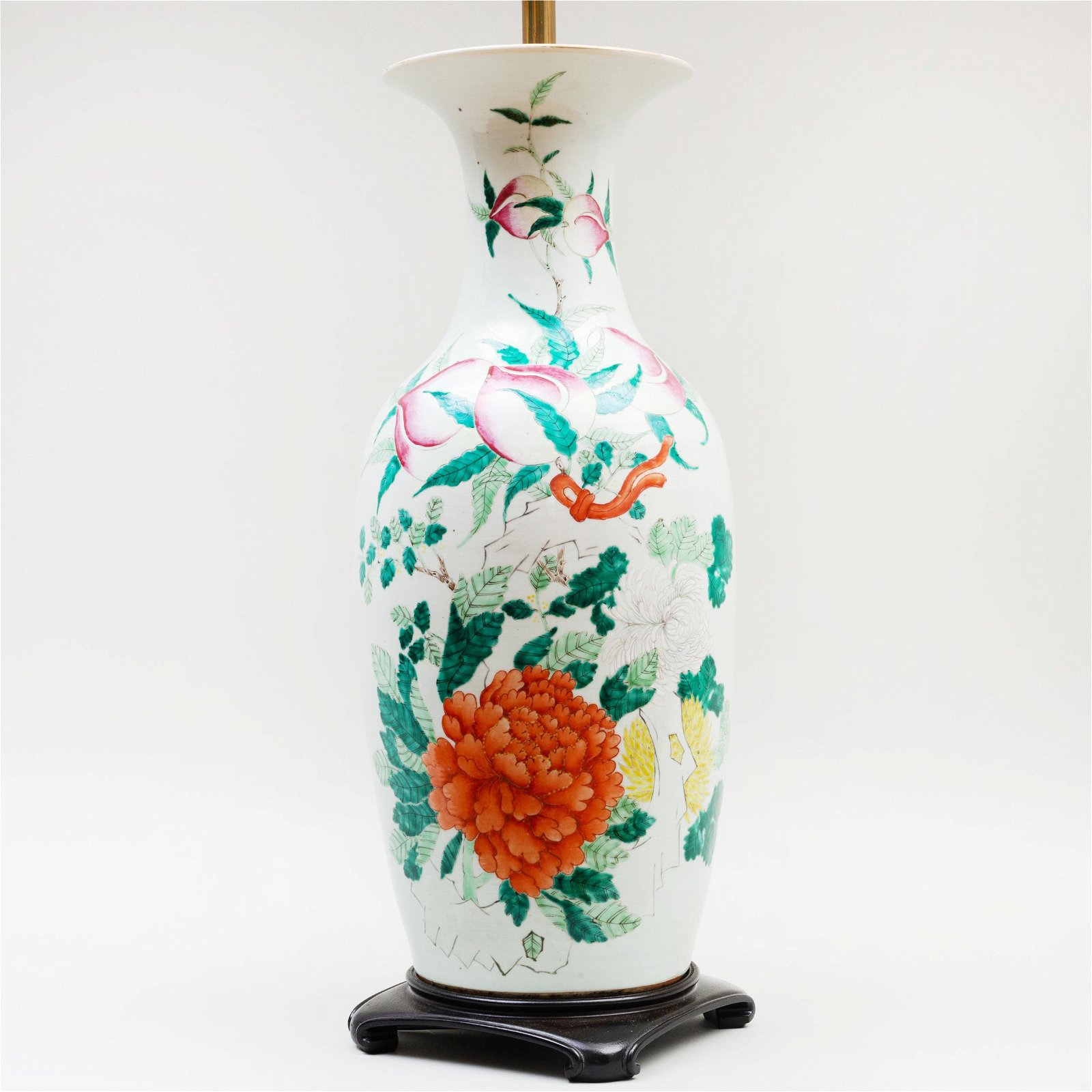Chinese Famille Rose Porcelain Vase Mounted as a Lamp