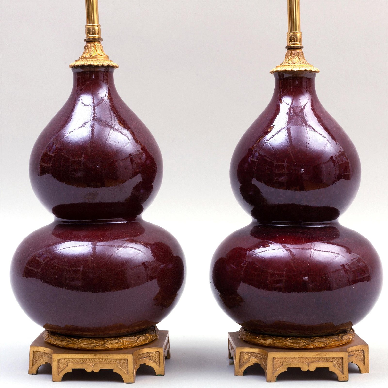 Pair of Chinese Ormolu-Mounted Copper Red Glazed