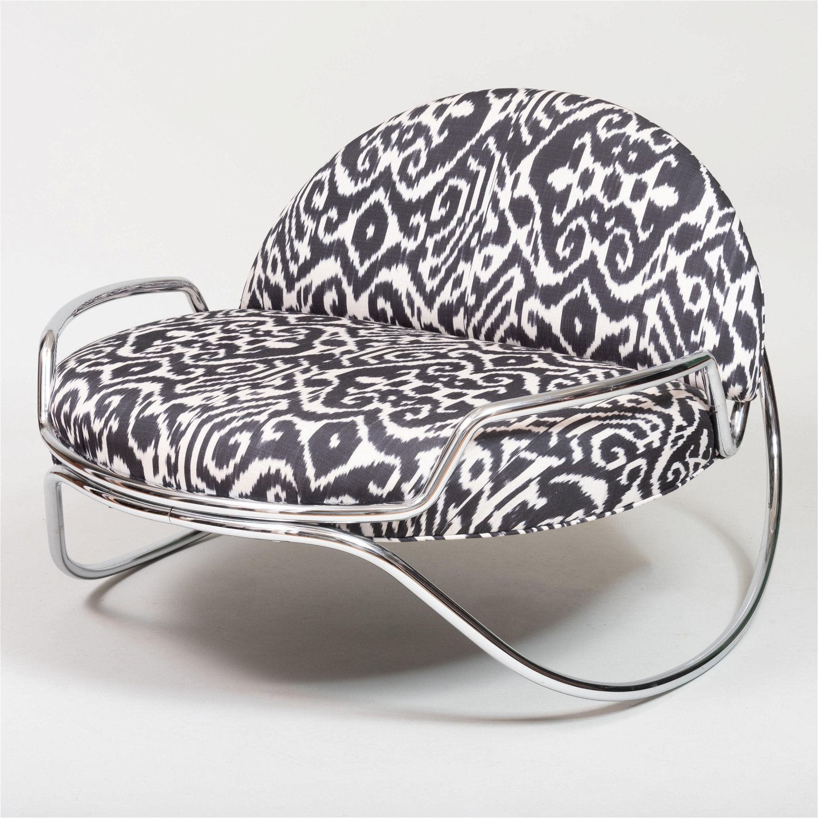 Chrome Rocker Upholstered in an Ikat Pattern, of Recent