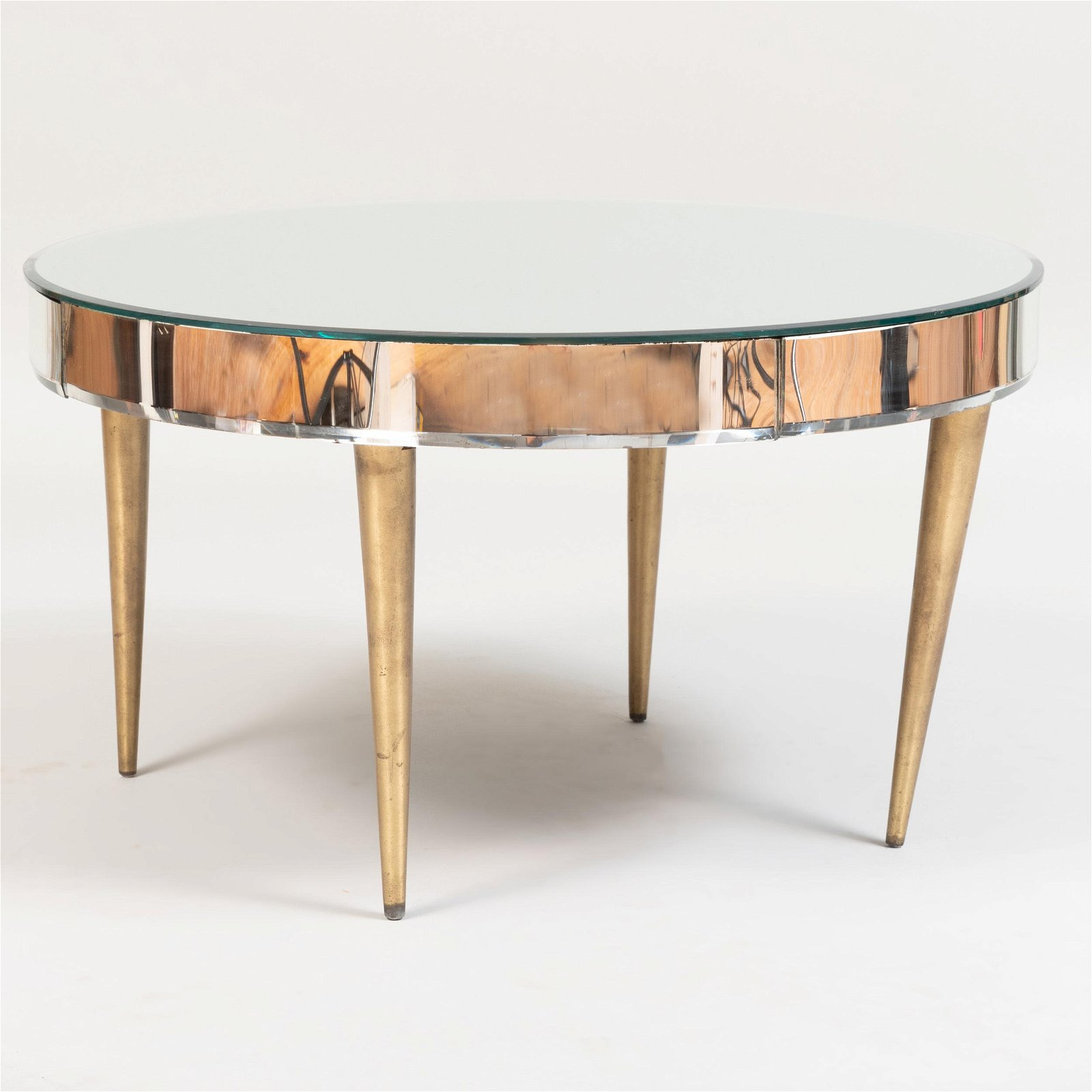 Mirror and Gilt-Metal-Mounted Circular Low Table