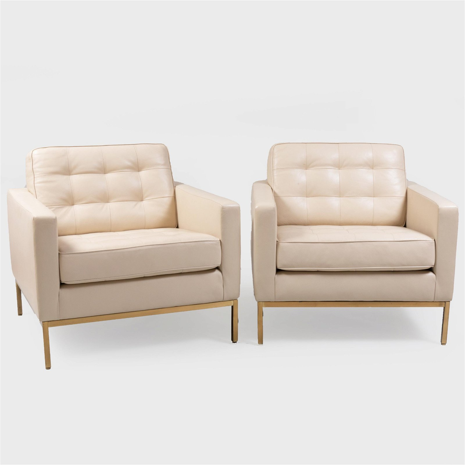 Pair of Florence Knoll Square Leather Club Chairs on