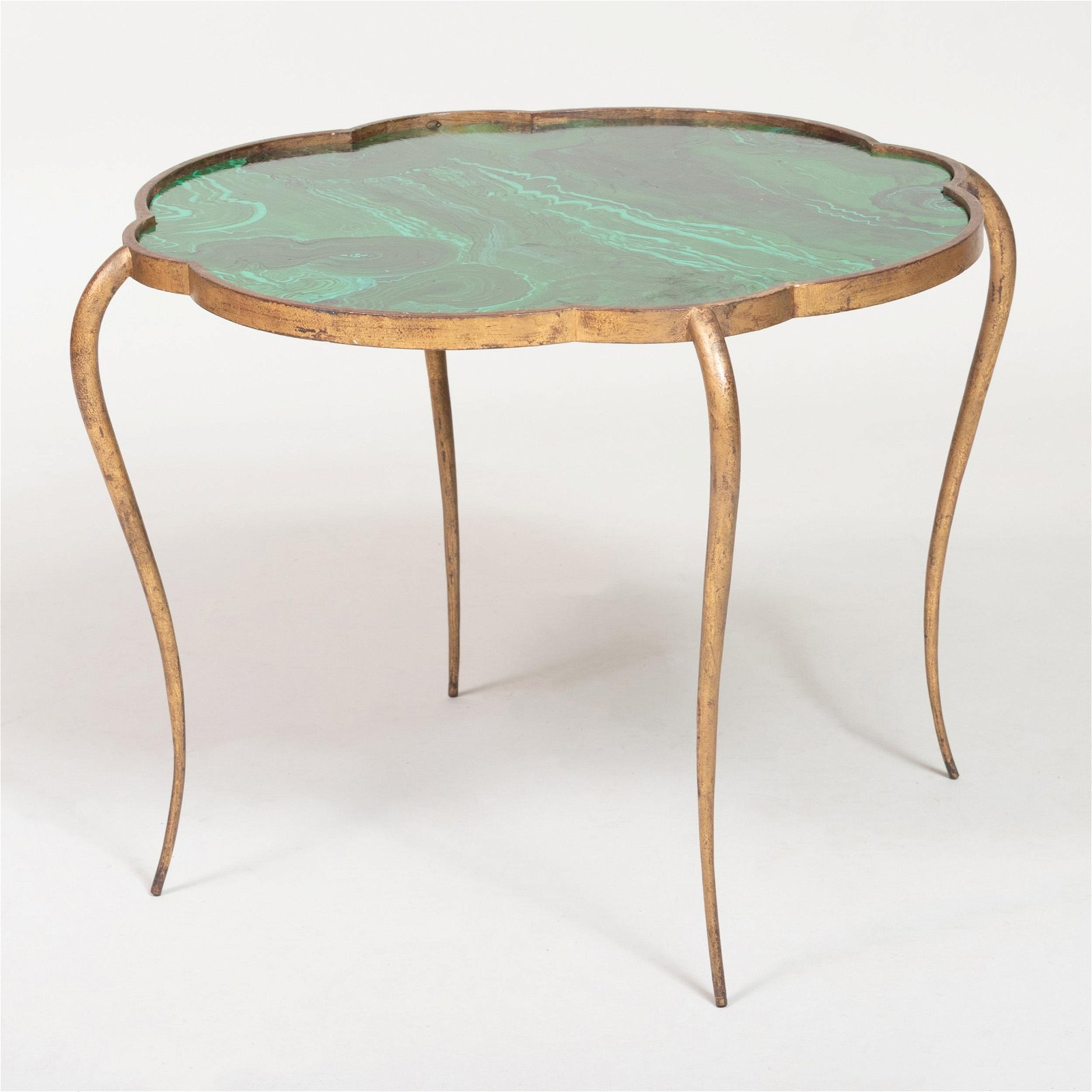 René Prou Gilt-Metal and Faux Malachite Painted Side