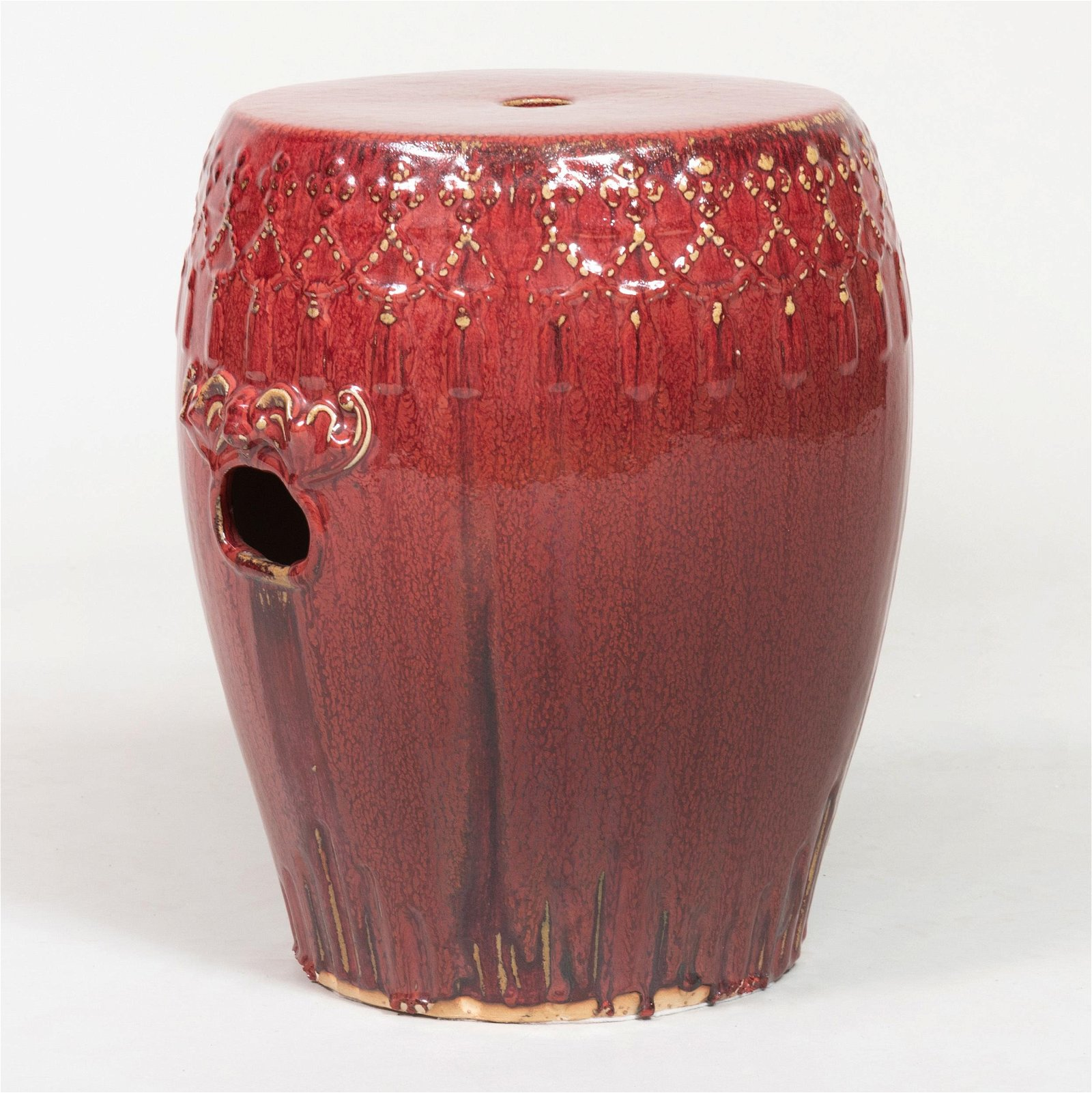 Chinese Red Glazed Pottery Garden Seat