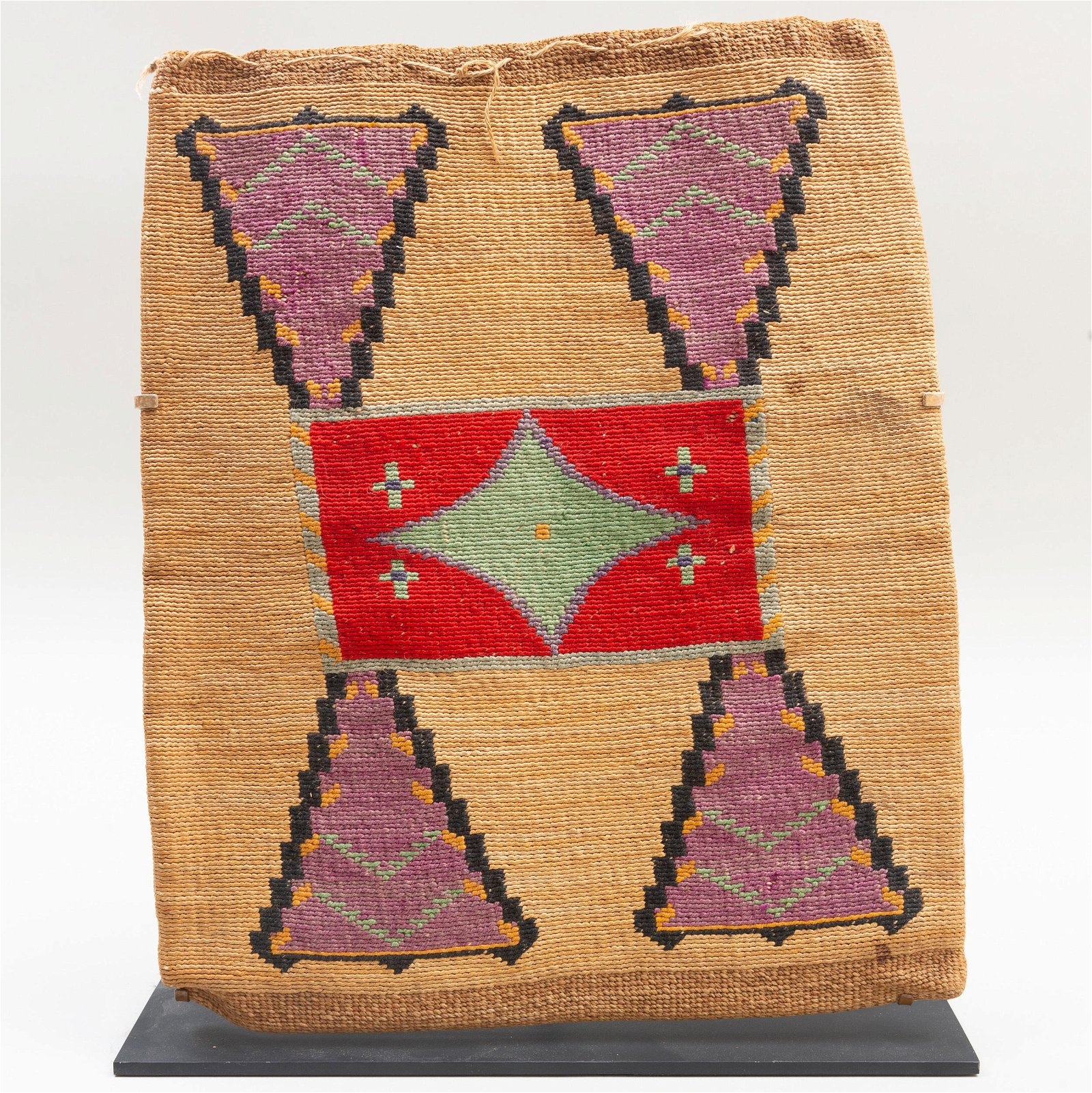 Nez Perce Woven Cornhusk Fibers and Wool Bag