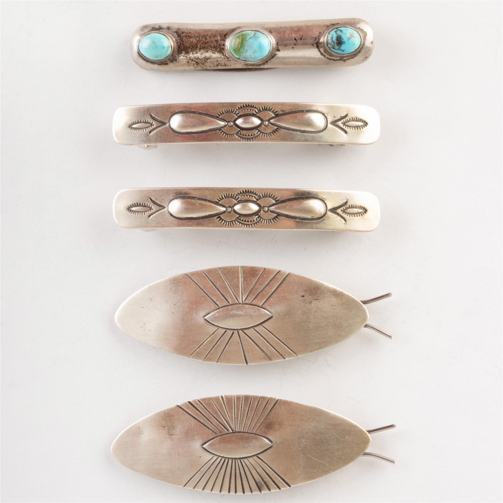 Group of Native American Silver Hair Barrettes