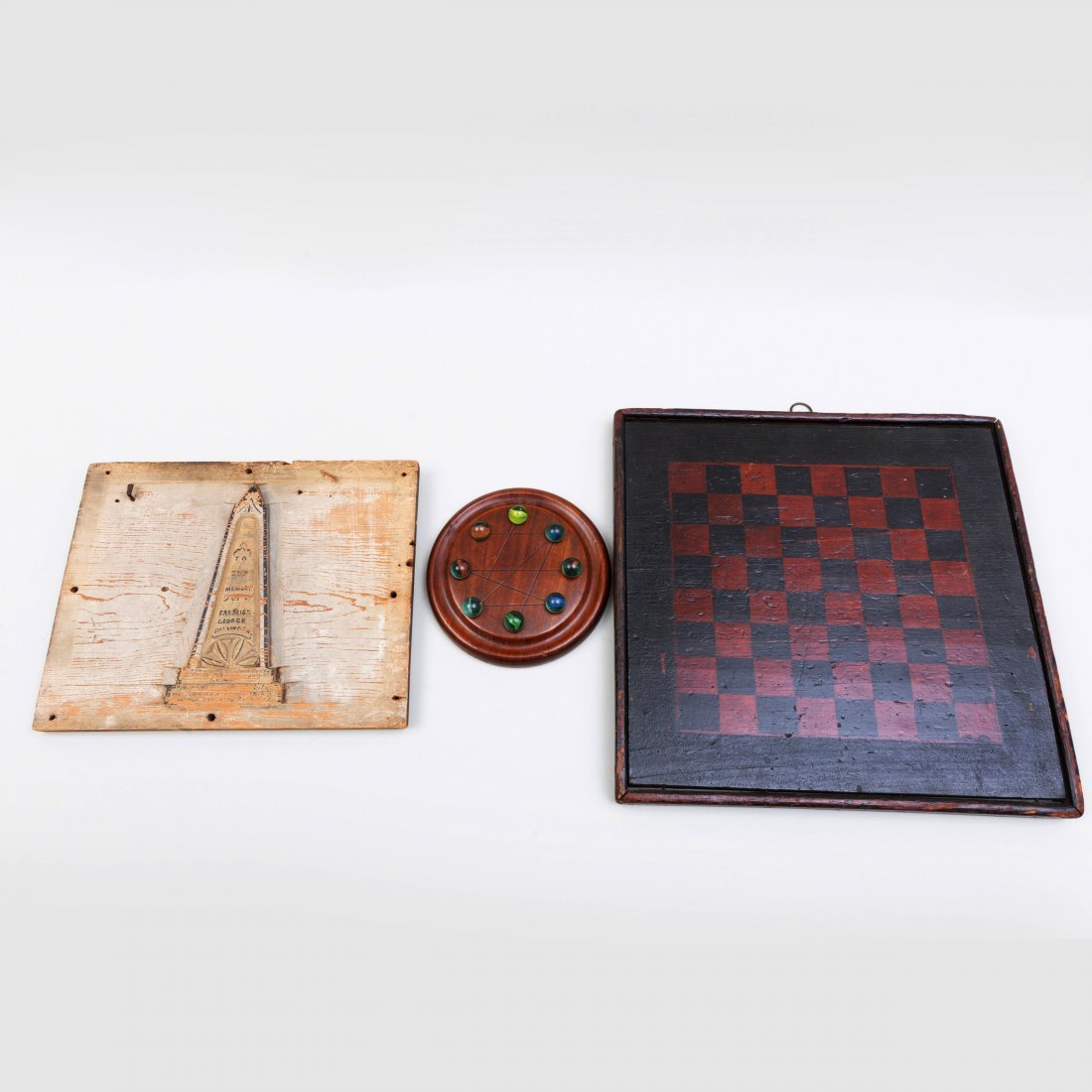 Two Game Boards and a Painted Mourning Panel
