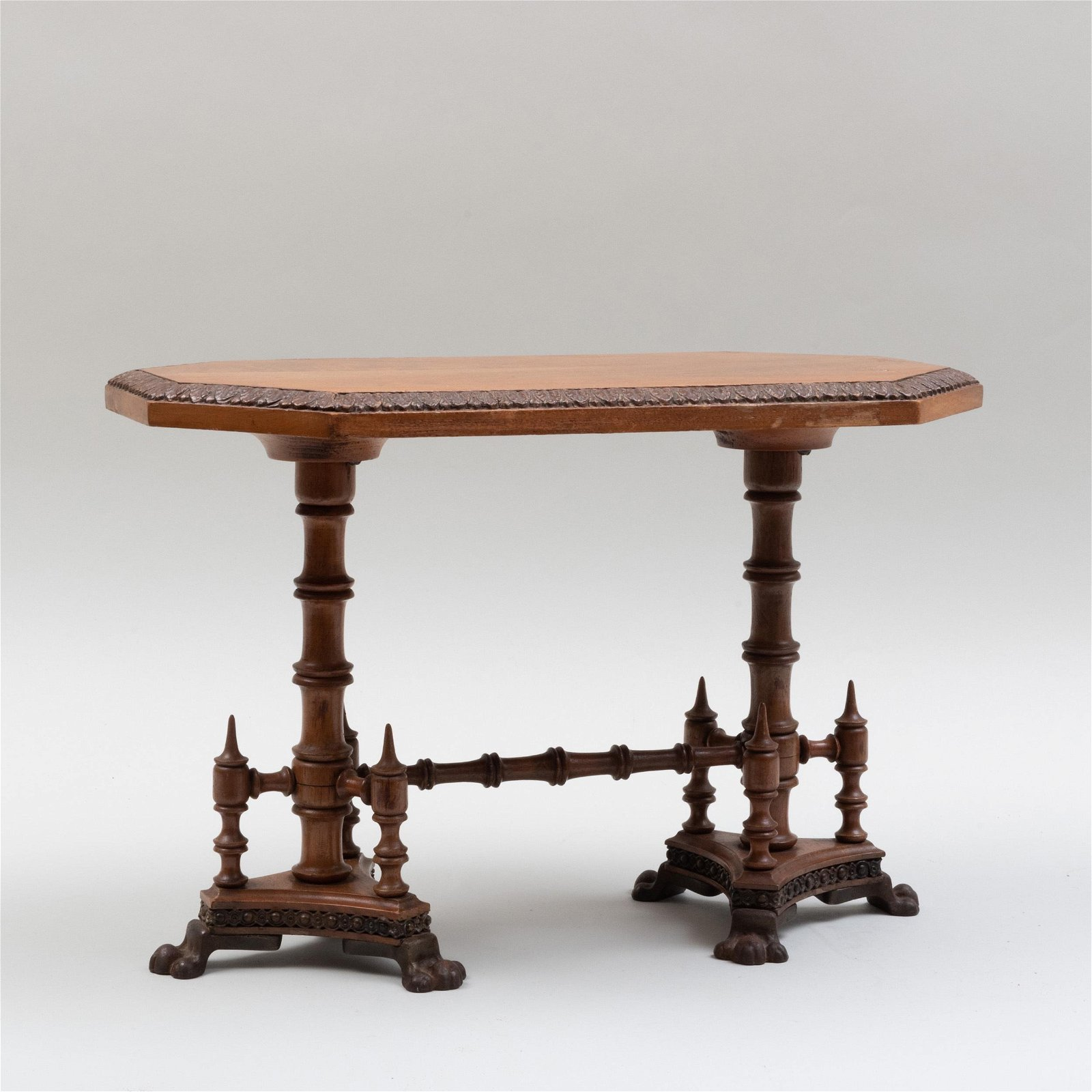 Miniature American Victorian Carved Walnut and Metal