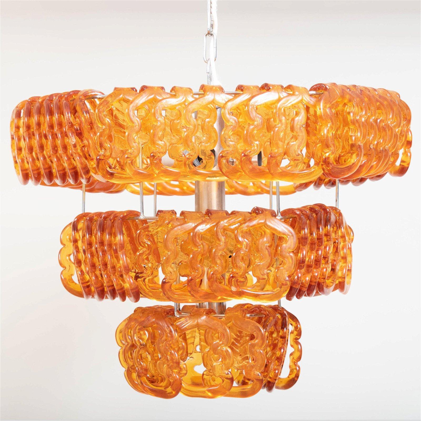Angelo Mangiarotti Chrome and Glass 'Giogali' Hanging