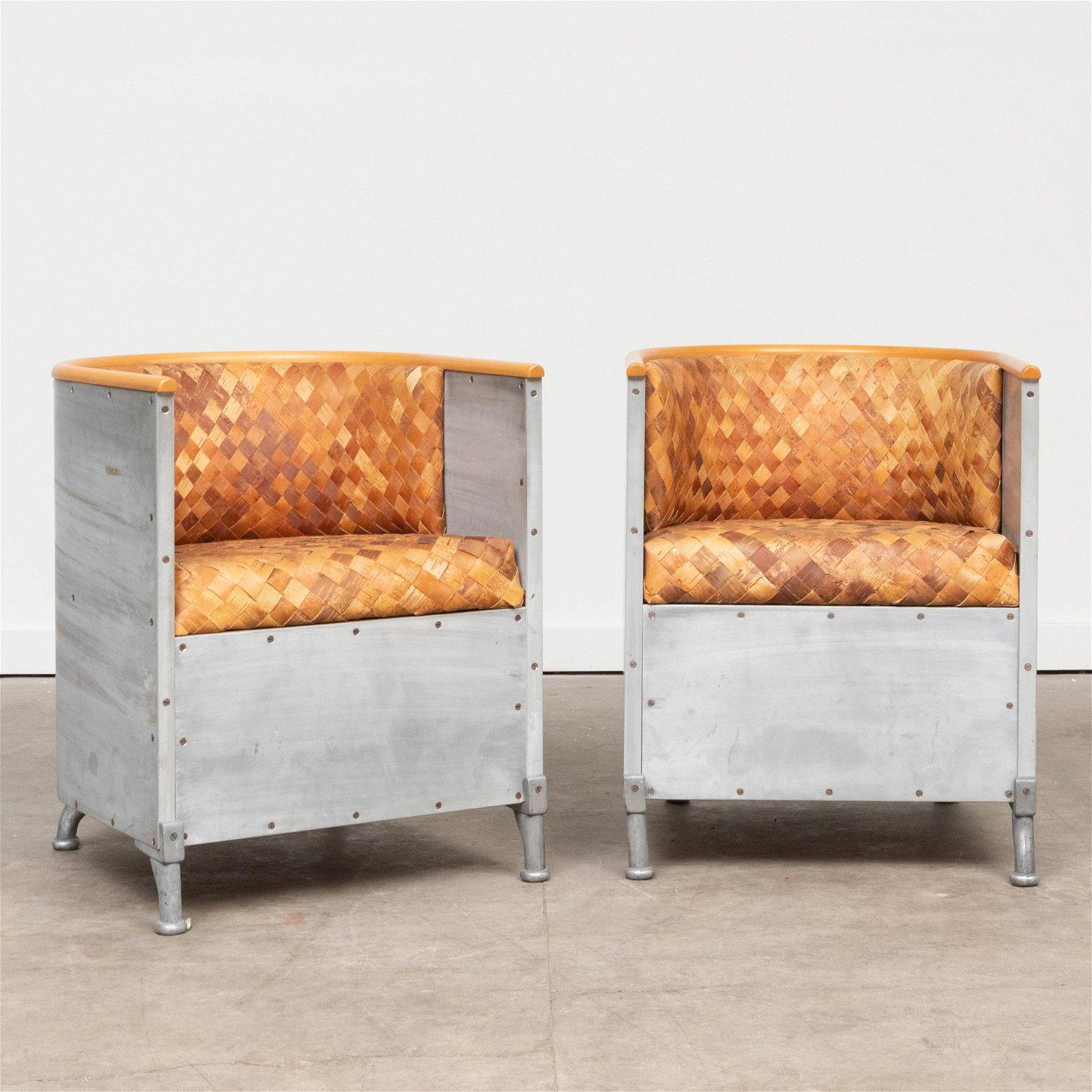 Two Mats Theselius Aluminum and Woven Wood 'Fatolj'