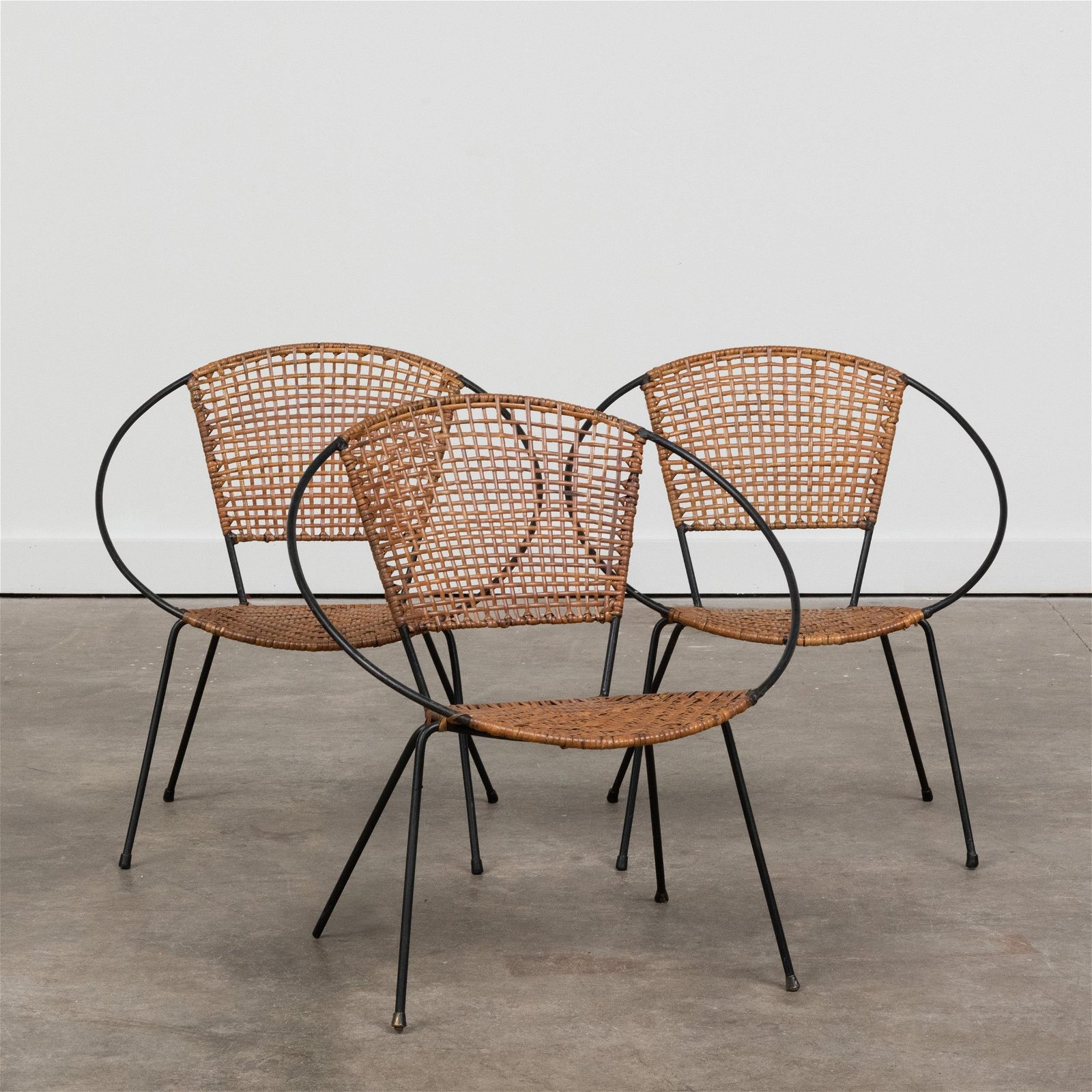 Set of Three Modern Iron and Wicker Child's Chairs