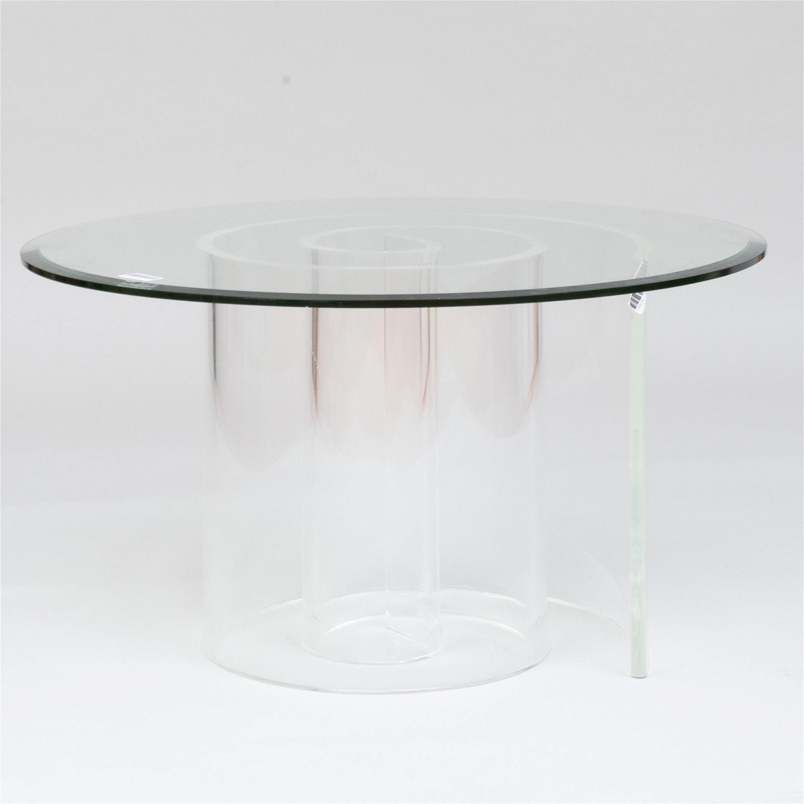 Large Lucite and Glass 'Snail' Coffee Table
