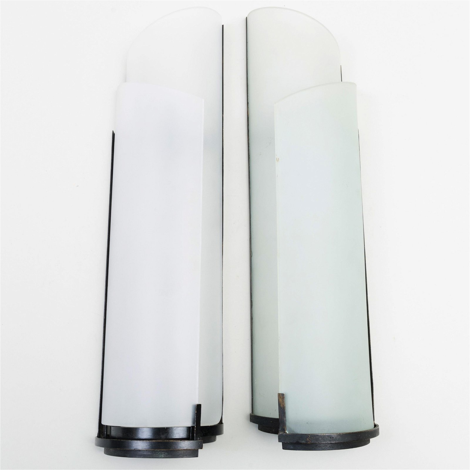 Pair of Jean Perzel Style Iron and Frosted Glass