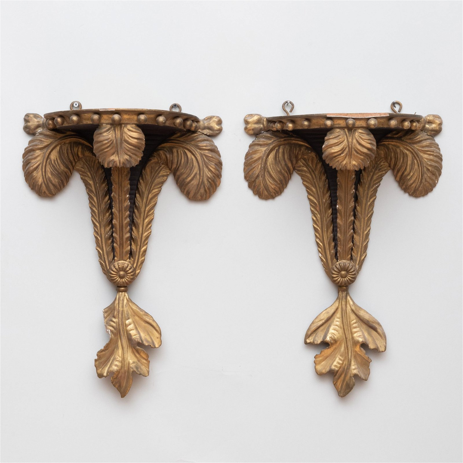Pair of Late George III Style Giltwood Prince of Wales