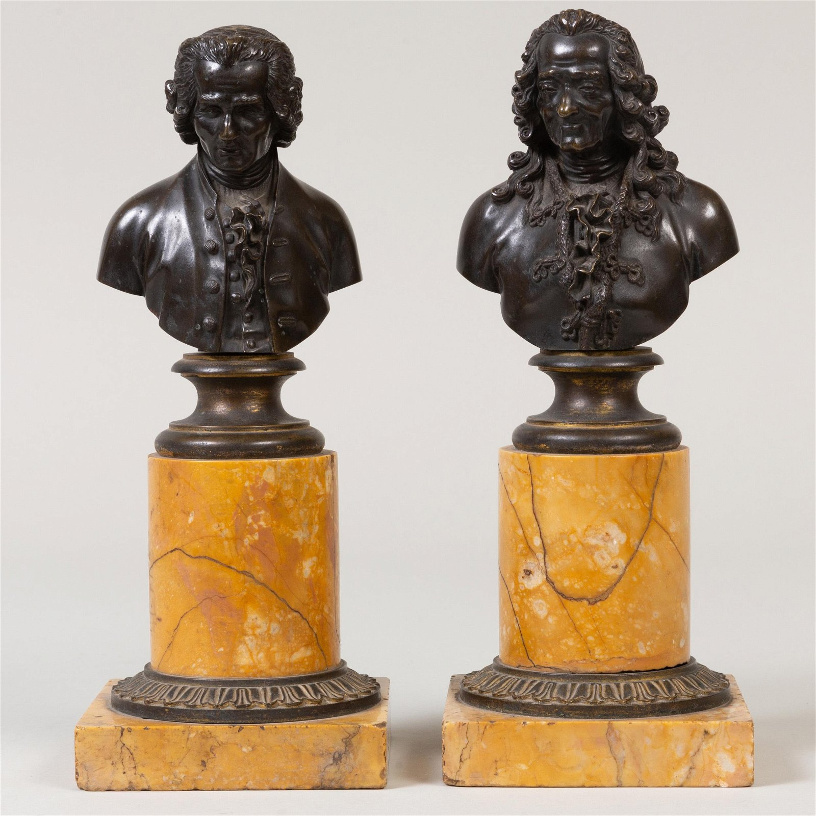 Pair of French Bronze and Siena Marble Portrait Busts