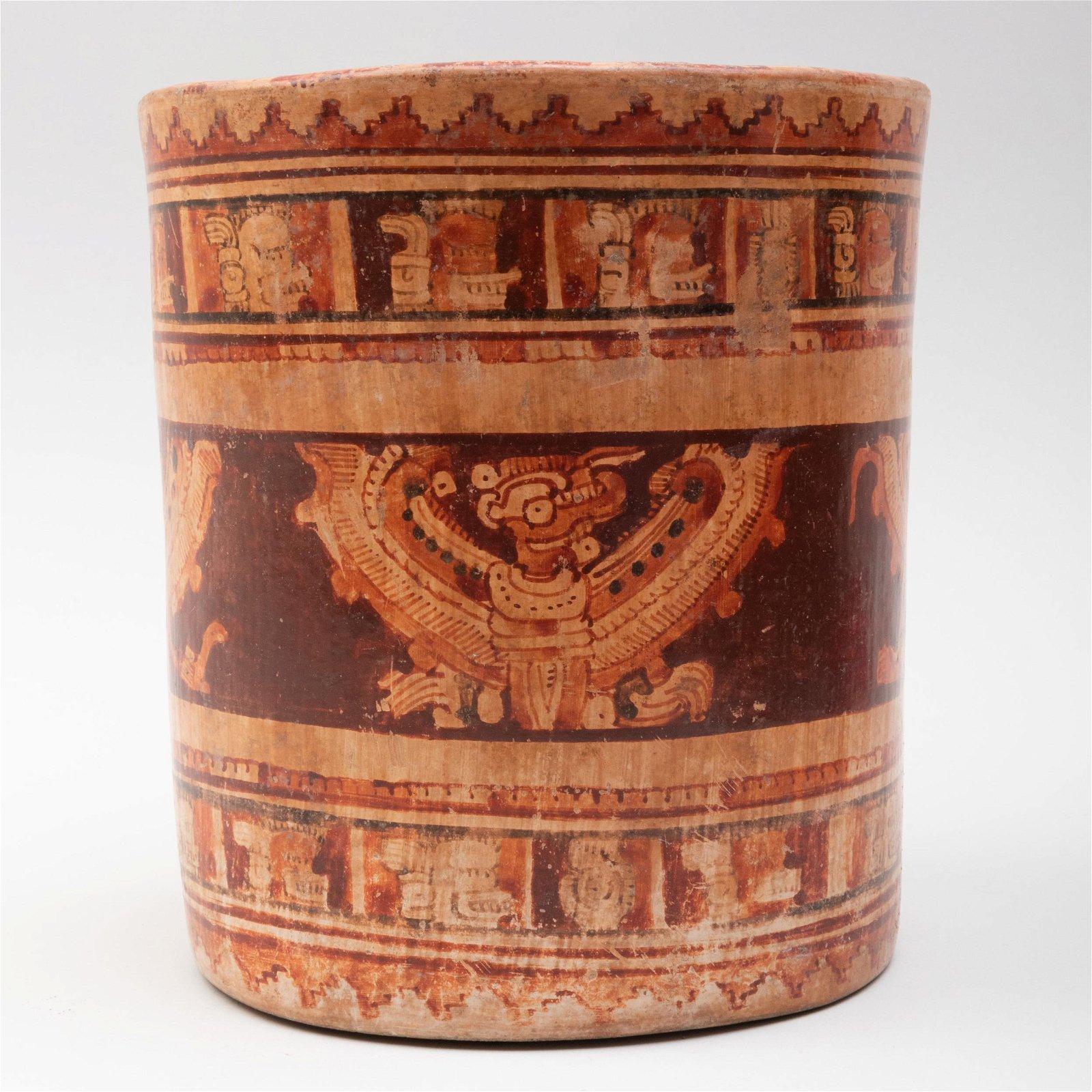 Mayan Polychrome Pottery Cylindrical Vessel