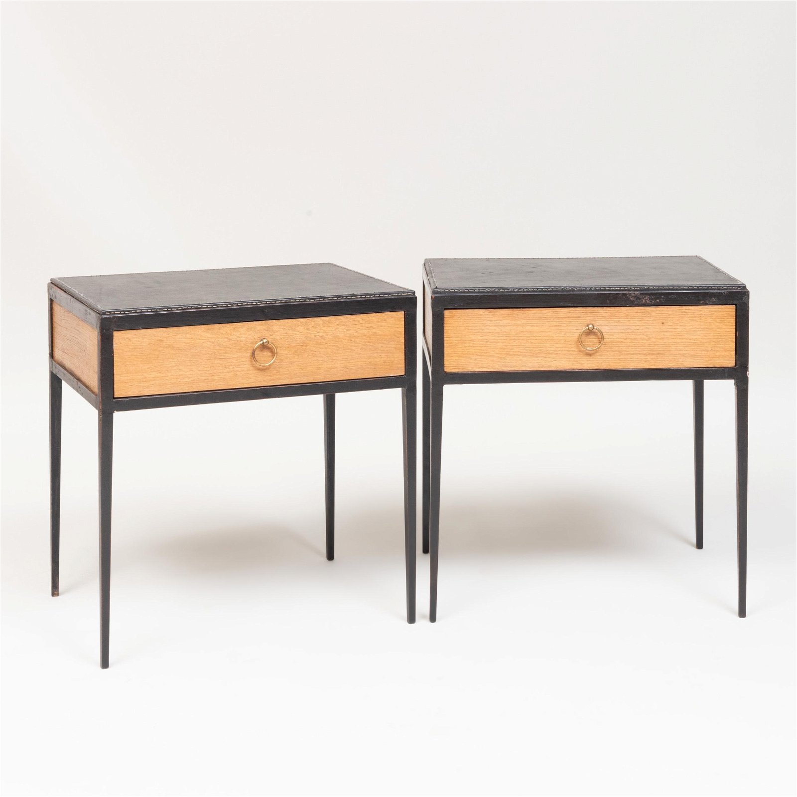 Pair of Jean-Michel Frank for Comte Metal, Leather and