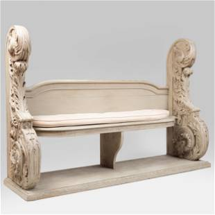 Large Flemish Baroque Style Grey Painted Hall Bench