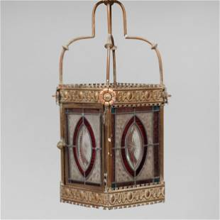 Brass Etched and Stained Glass Lantern, Possibly