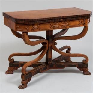 Regency Brass-Inlaid Calamander and Yewwood Card Table