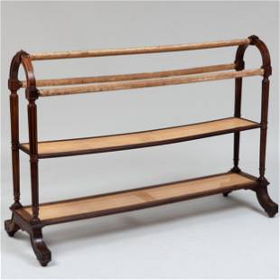 Early Victorian Walnut and Caned Two-Tier Clothes Horse