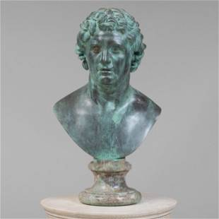 Italian Patinated Metal Bust of a Hellenistic Prince,