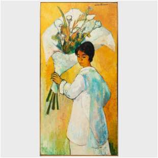 André Minaux (1923-1986): Woman with Calla Lillies