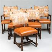 Set of Six Baroque Style Oak Upholstered Dining Chairs