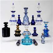 Group of Blue Overlay and Gilt-Decorated Glass Scent