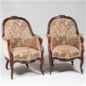 Pair of Victorian Rococo Revival Carved Rosewood