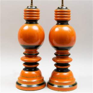 Pair of Orange and Black Lacquered Lamps