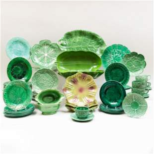 Assembled Group of Green Glazed Majolica Tableware
