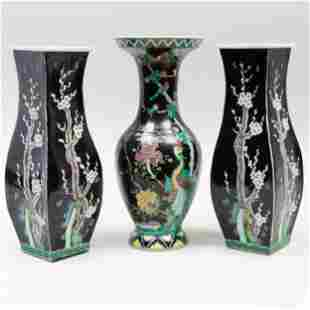 Group of Three Chinese Famille Noire Porcelain Vases
