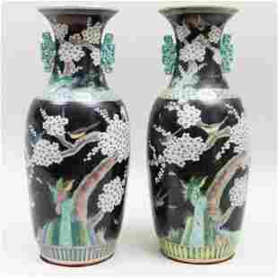 Pair of Large Chinese Famille Noire Porcelain Baluster