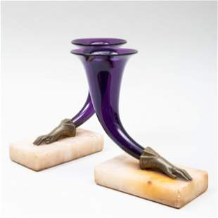 Pair of Victorian Bronze-Mounted Amethyst Glass