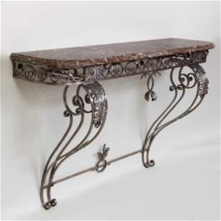 French Rococo Style Iron Console Table