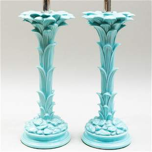 Pair of Italian Serge Roche Style Blue Glazed Porcelain