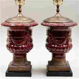 Pair of Red Glazed Stoneware Urn Form Lamps