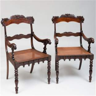 Pair of Continental Carved Mahogany and Caned Armchairs