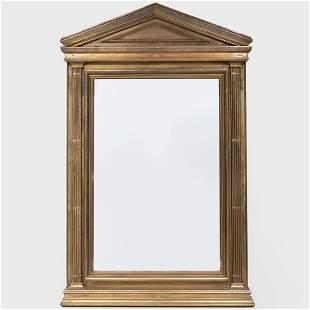 Large English Brass Pedimented Mirror