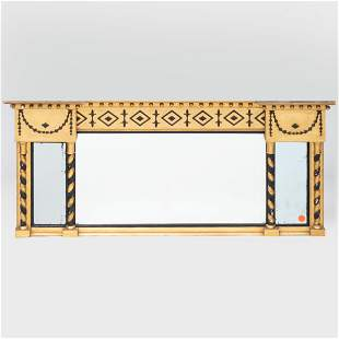 Federal Giltwood and Black Painted Three Part Over