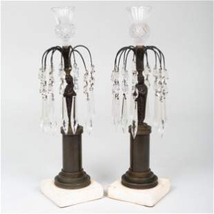 Pair of Continental Patinated Bronze and Cut Glass