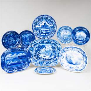 Group of Blue and White Transferware with Historical