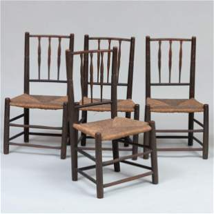 Set of Four Green-Painted Maple and Hickory Rush-Seat