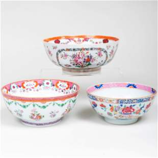 Three Chinese Export Famille Rose Porcelain Punch Bowls