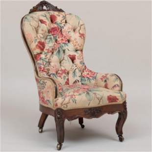 Victorian Carved Mahogany Linen Tufted Upholstered