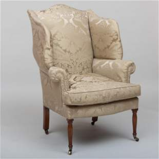 Federal Carved Mahogany Wing Chair