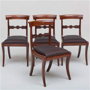 Set of Four Federal Carved Mahogany Side Chairs