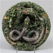 Jose a Cunha Palissy Style Majolica Snake Plate