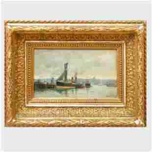 Carl Flodman (1863-1888):  Hamnmotiv (Harbor Scene)